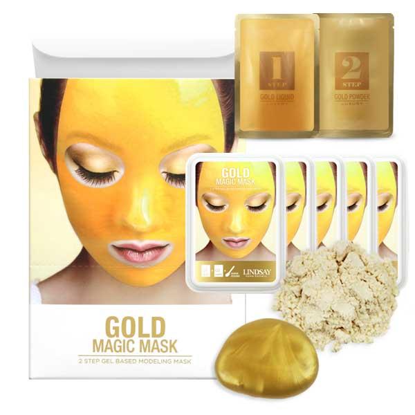 Slika devoje koja nosi zlatnualginatnu masku za lice i ambalaže te kreme